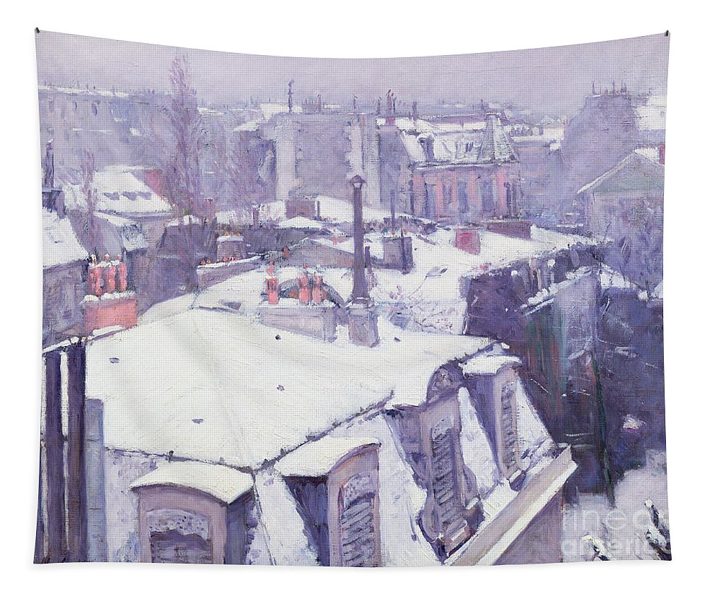 Snow Tapestry featuring the painting Roofs Under Snow by Gustave Caillebotte