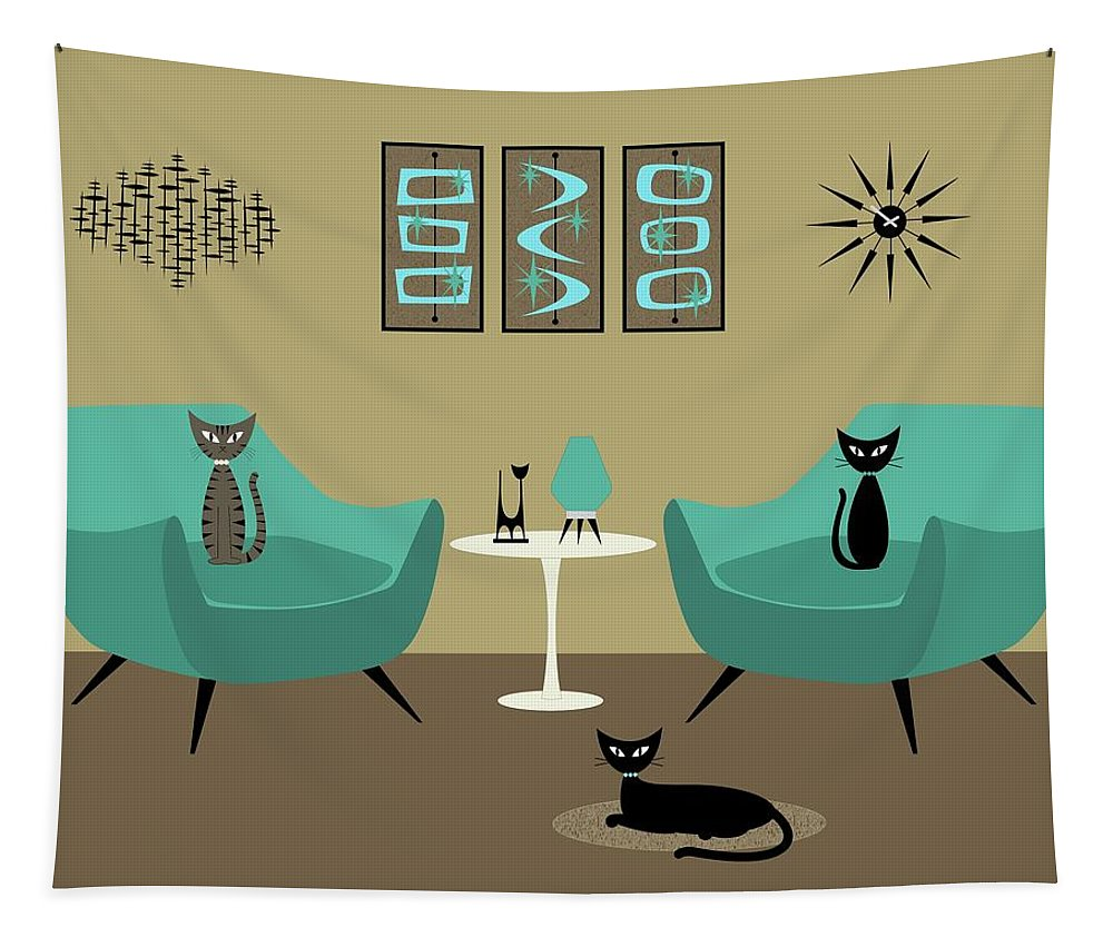 Tapestry featuring the digital art Room With Dark Aqua Chairs 2 by Donna Mibus