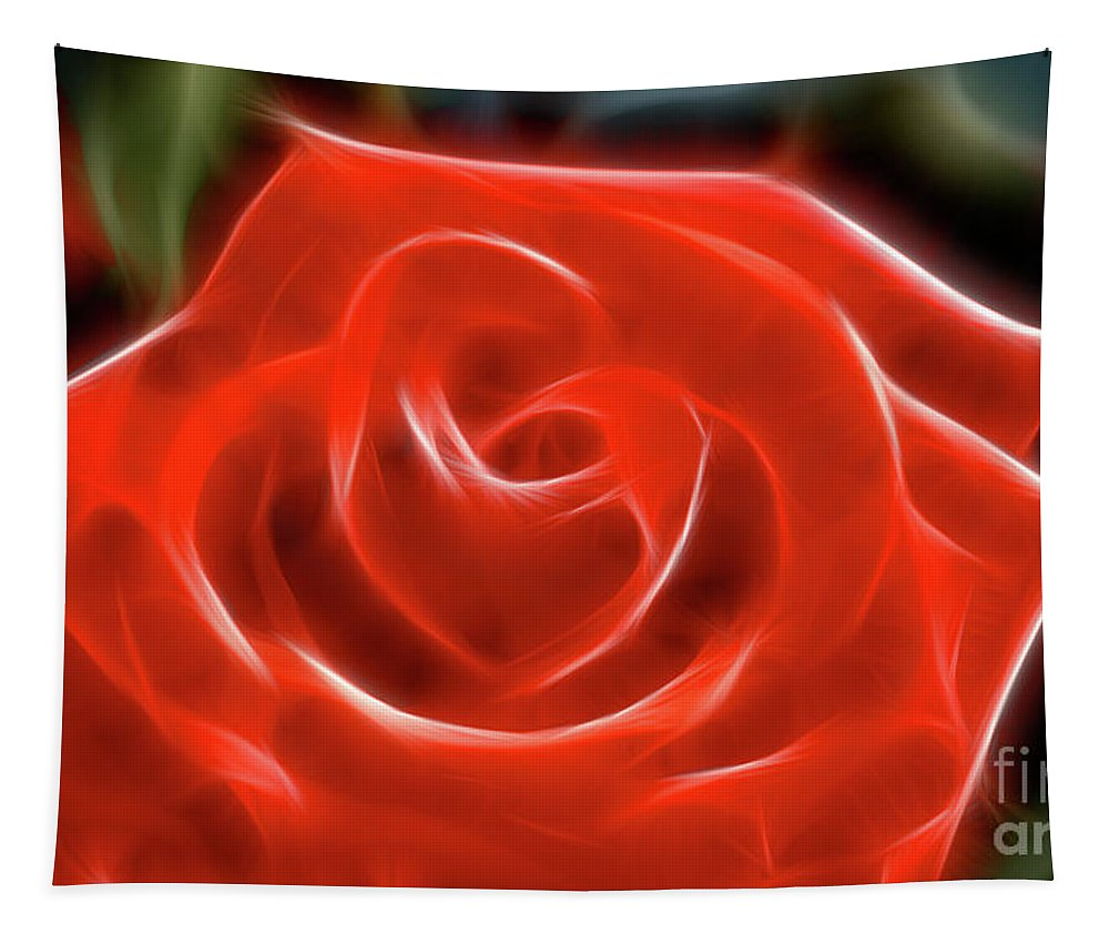 Rose Tapestry featuring the photograph Rose-5845-fractal by Gary Gingrich Galleries