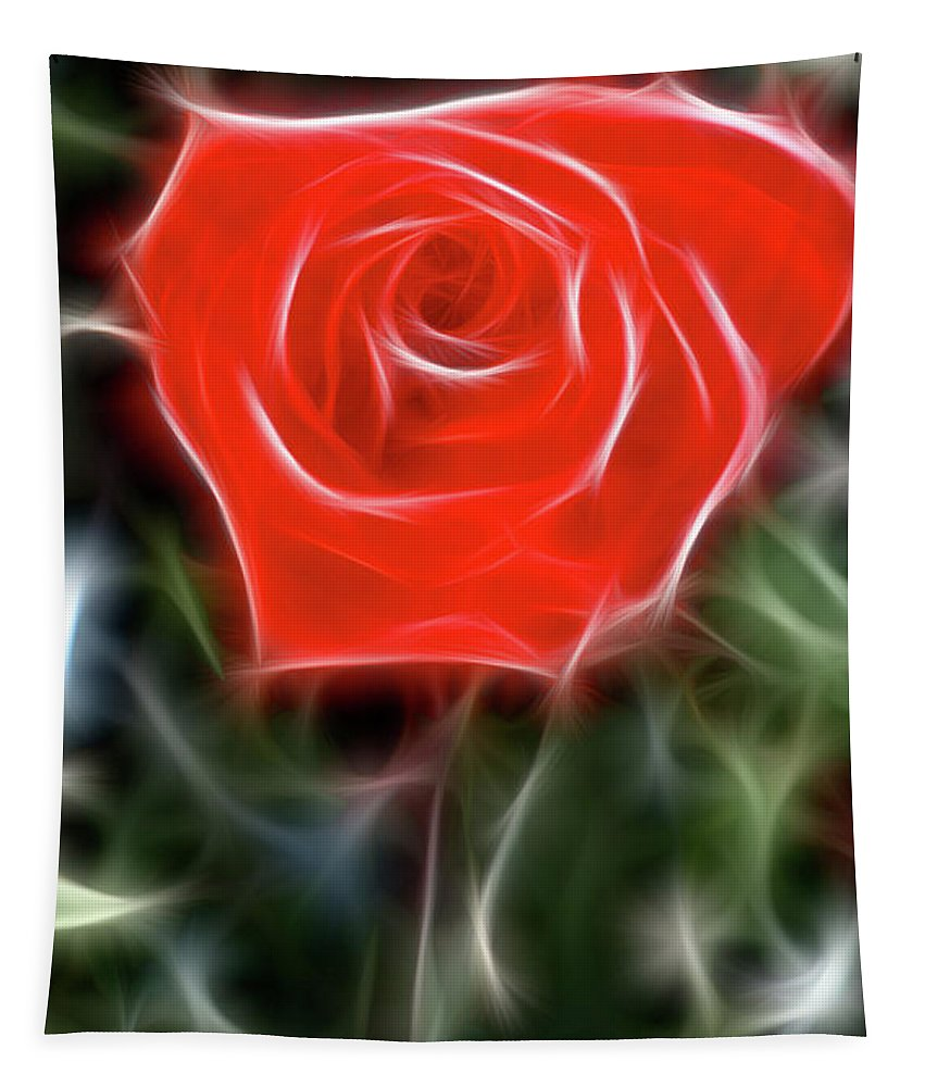 Rose Tapestry featuring the photograph Rose-5879-fractal by Gary Gingrich Galleries