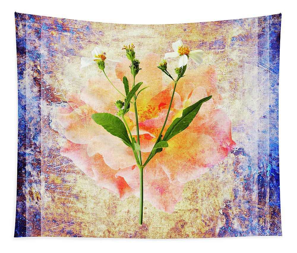Flower Tapestry featuring the photograph Rose and Wild Flower by Skip Nall