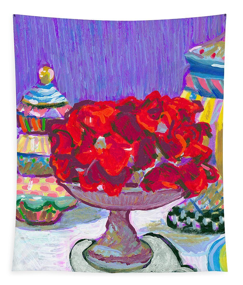 Rose Cake Tapestry featuring the painting Rose Covered Cake by Candace Lovely
