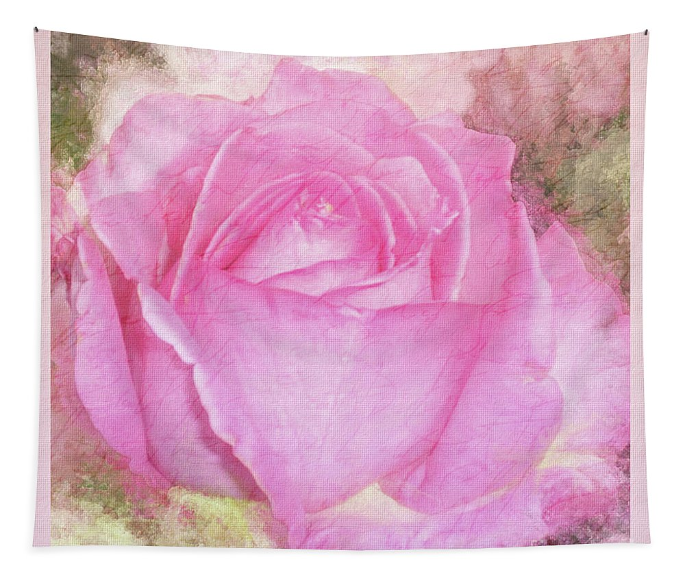 Mona Stut Tapestry featuring the mixed media Enjoy A Rose Soft Pastel by Mona Stut