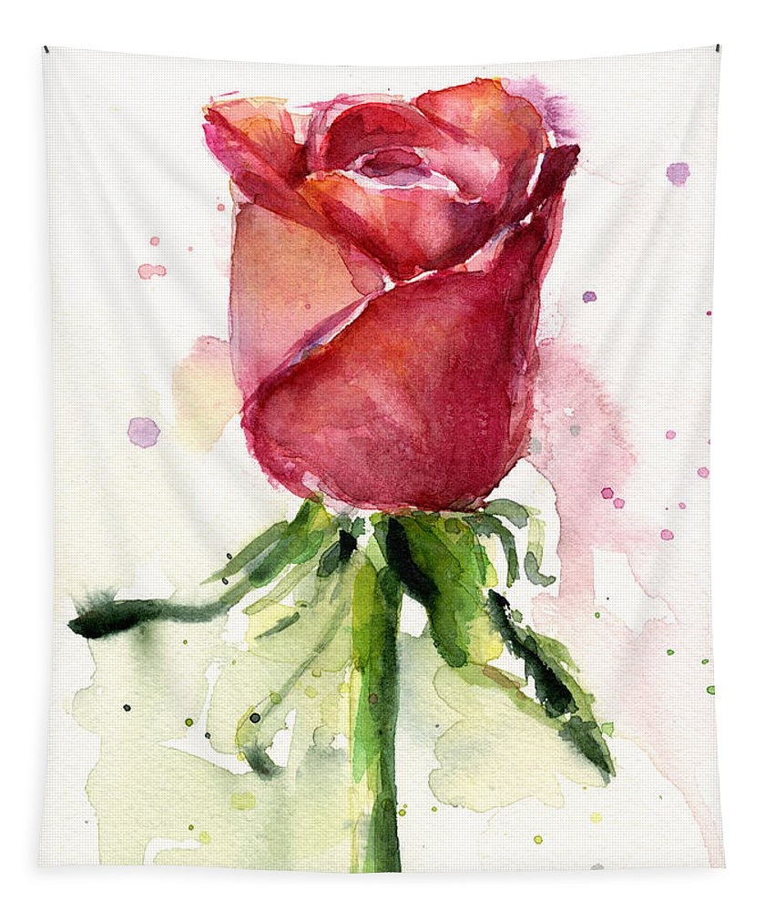 Rose Tapestry featuring the painting Rose Watercolor by Olga Shvartsur