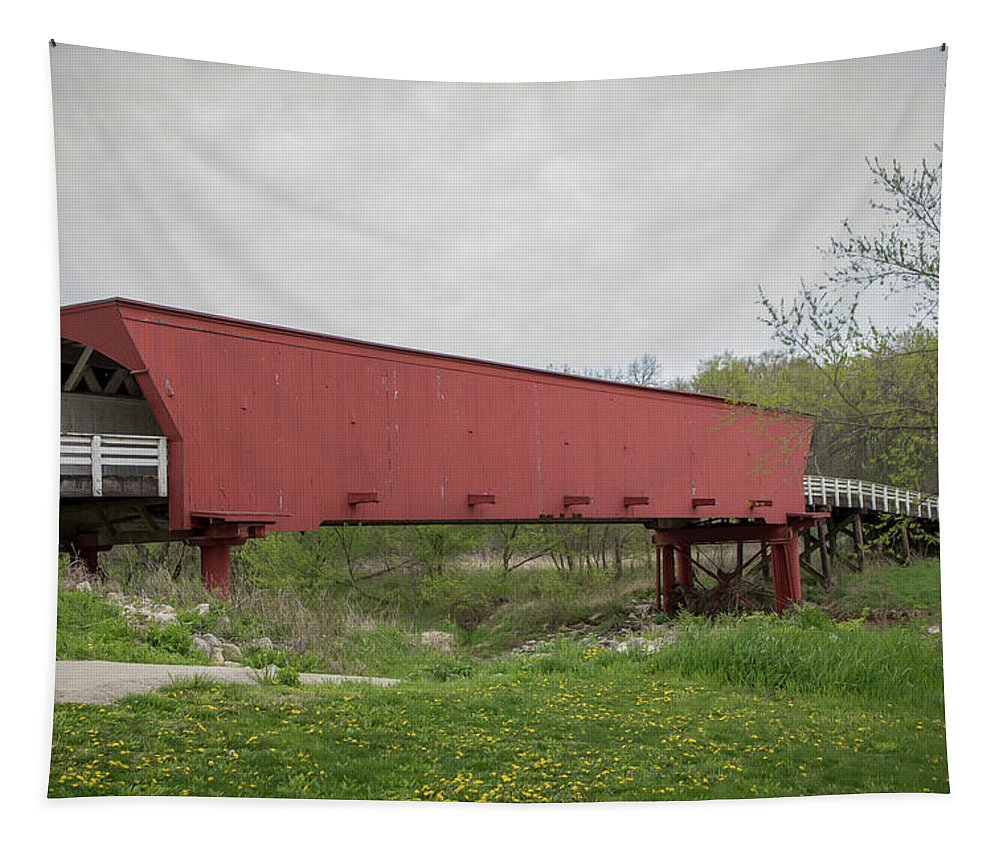 Architecture Tapestry featuring the photograph Roseman Covered Bridge 2 by Teresa Wilson
