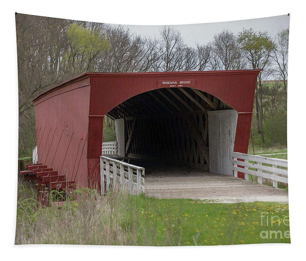 Architecture Tapestry featuring the photograph Roseman Covered Bridge - Madison County - Iowa by Teresa Wilson