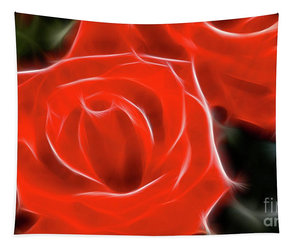 Rose Tapestry featuring the photograph Roses-5814-fractal by Gary Gingrich Galleries