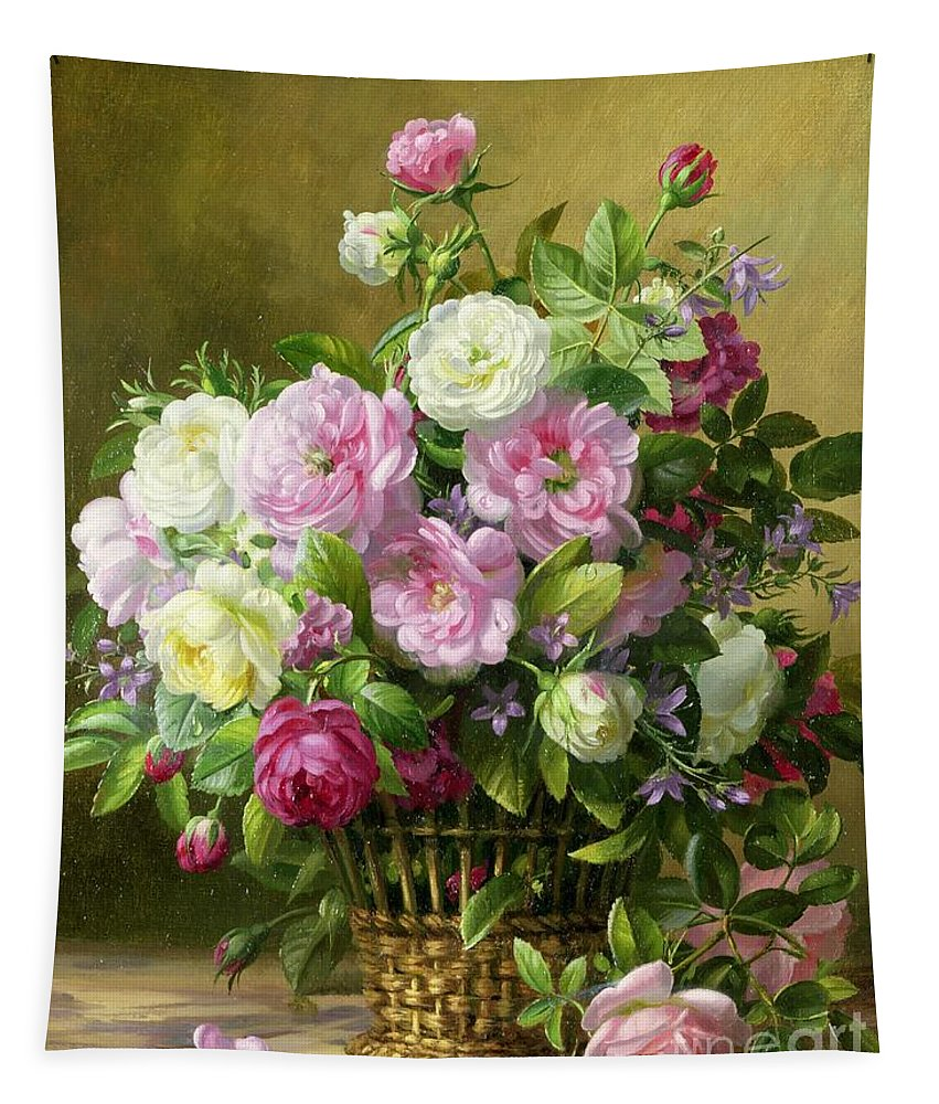 Rose; Roses; Still Life; Flower; Flowers; Arrangement; Pink; White; Basket; Leafs; Rose Petals On Floor; Pink Rose On Floor Tapestry featuring the painting Roses by Albert Williams