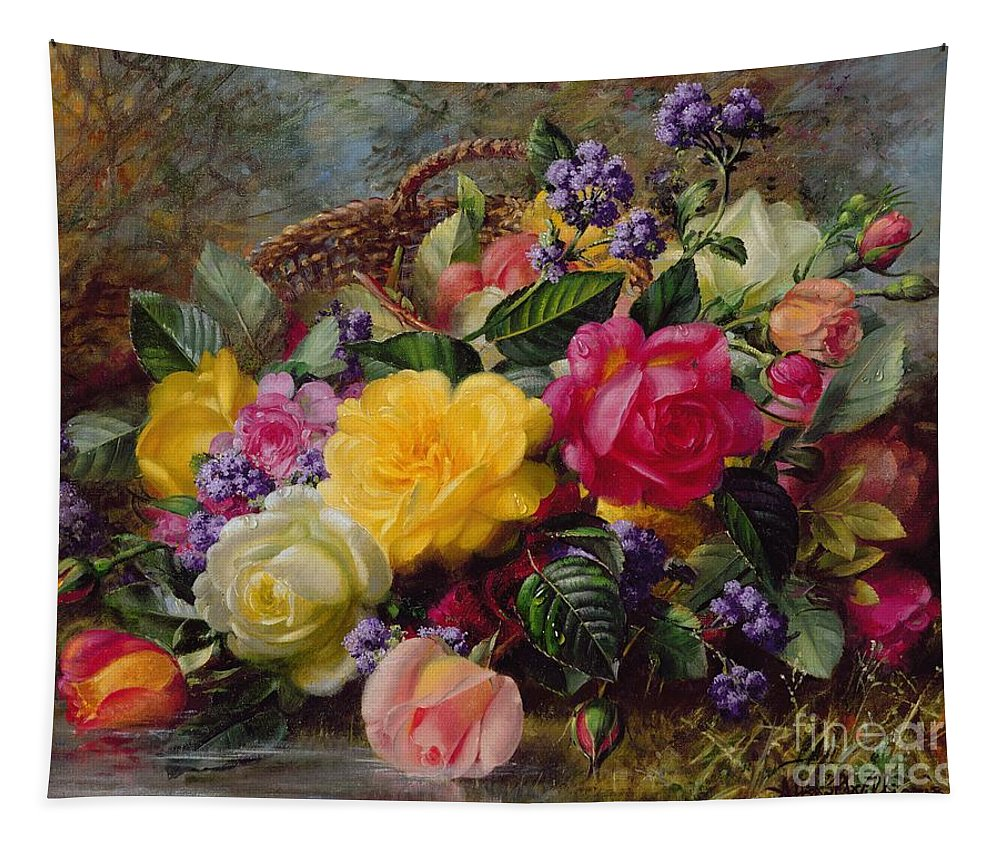 Rose; Flower; Reflection; Flowers; Pink; Yellow; White; Roses; Basket; Water; Grass; Grassy; Grassy Bank; Pond Tapestry featuring the painting Roses By A Pond On A Grassy Bank by Albert Williams
