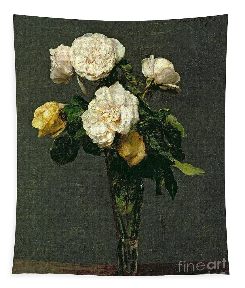 Roses Tapestry featuring the painting Roses In A Champagne Flute by Ignace Henri Jean Fantin-Latour