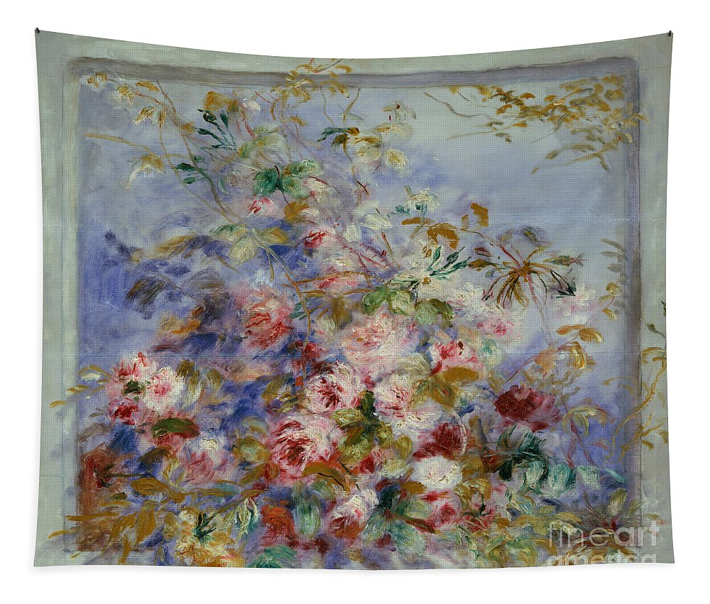 Renoir Tapestry featuring the painting Roses In A Window by Pierre Auguste Renoir