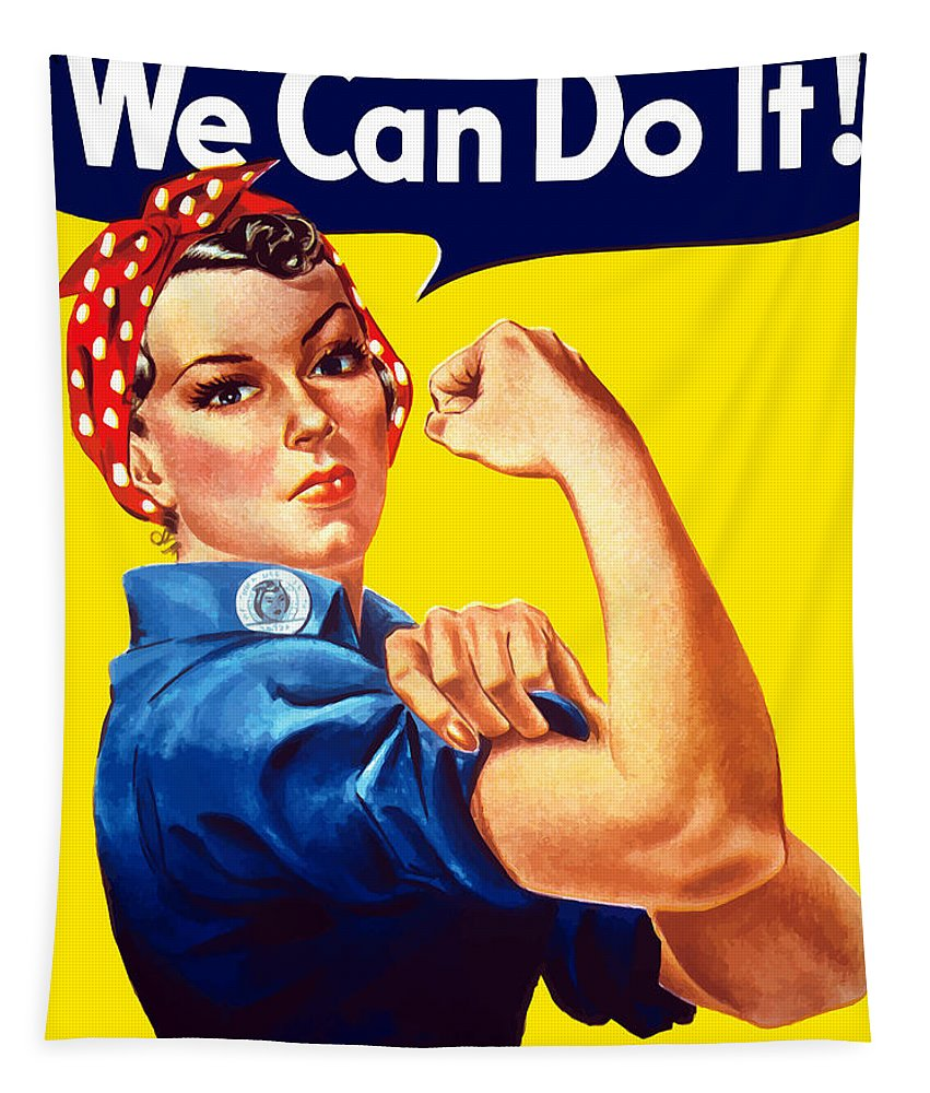 Rosie The Riveter Tapestry featuring the painting Rosie The Rivetor by War Is Hell Store