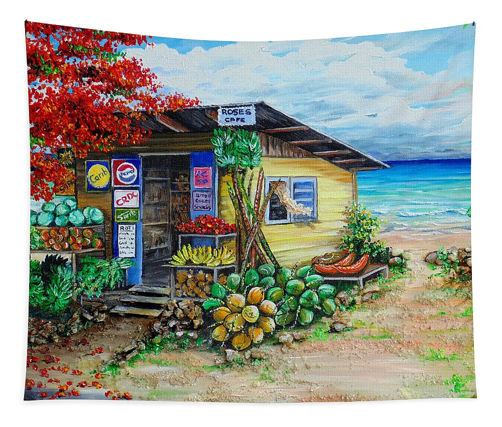 Beach Cafe Tapestry featuring the painting Rosies Beach Cafe by Karin Dawn Kelshall- Best