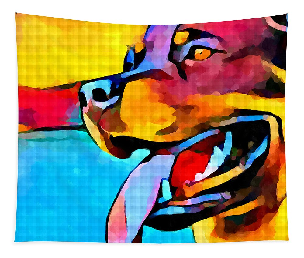 Dog Tapestry featuring the painting Rottweiler by Chris Butler