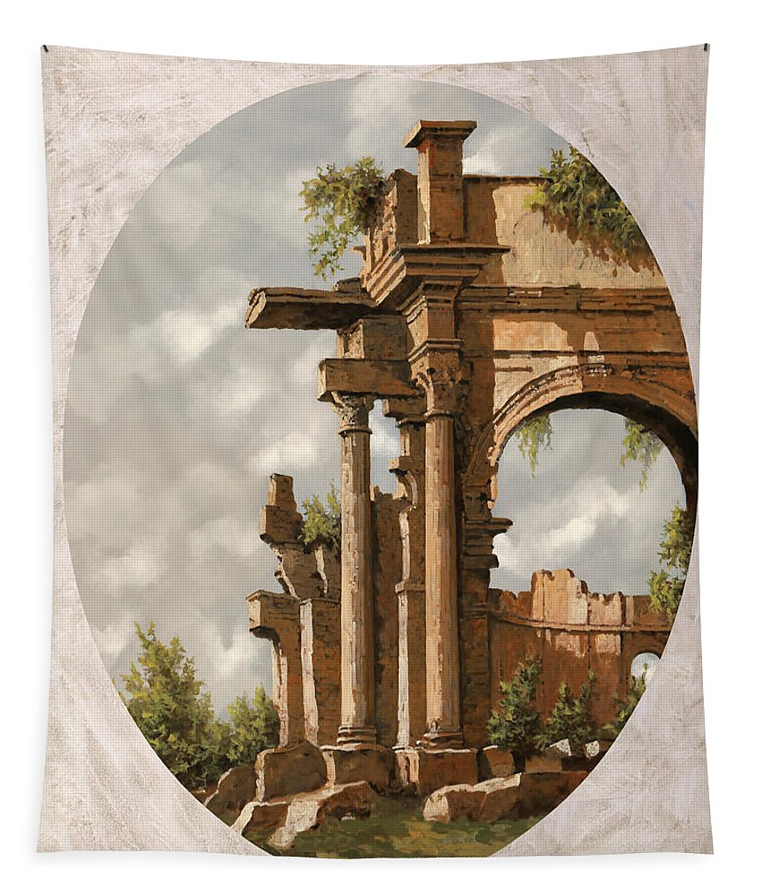 Roman Runs Tapestry featuring the painting Rovine Romane by Guido Borelli