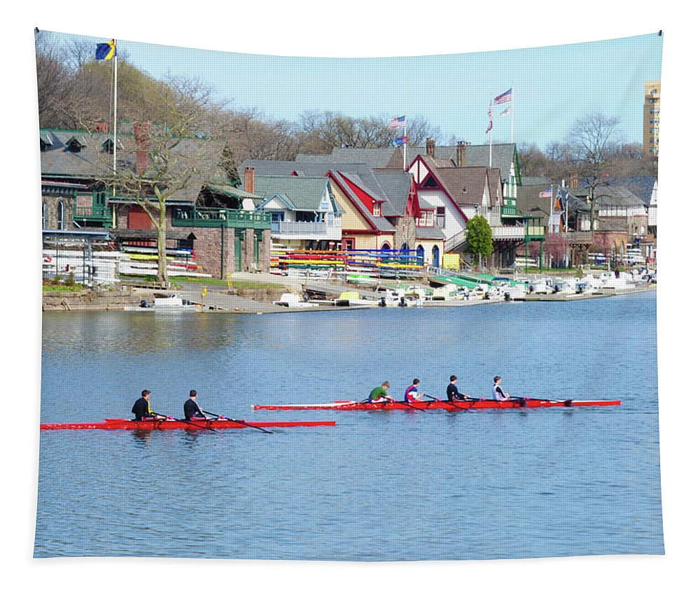 Rowers Tapestry featuring the photograph Rowing Along The Schuylkill River by Bill Cannon