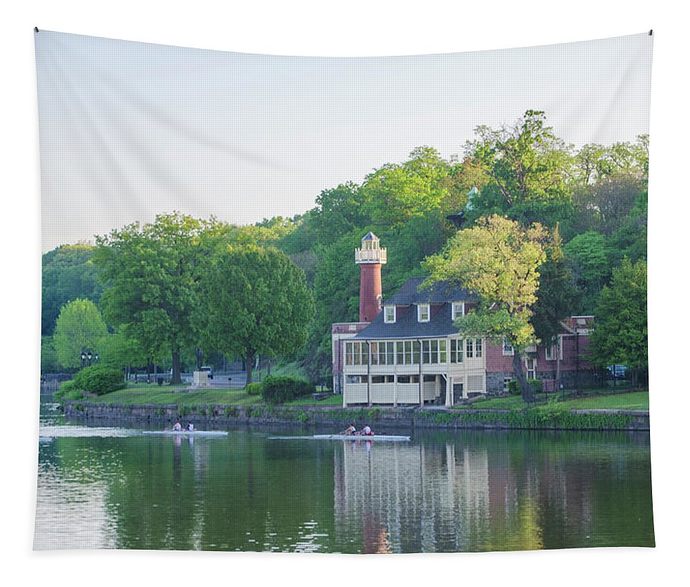 Rowing Tapestry featuring the photograph Rowing Along The Schuylkill River In Philadelphia by Bill Cannon