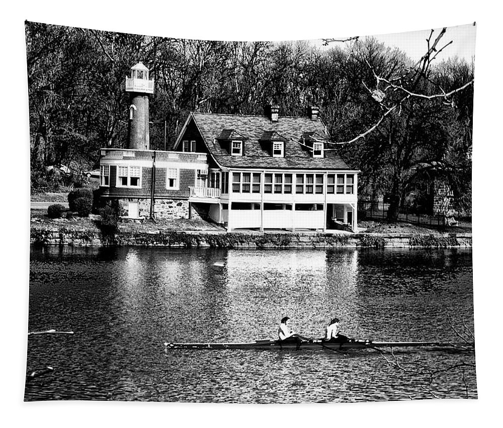 Turtle Tapestry featuring the photograph Rowing Past Turtle Rock Light House In Black And White by Bill Cannon