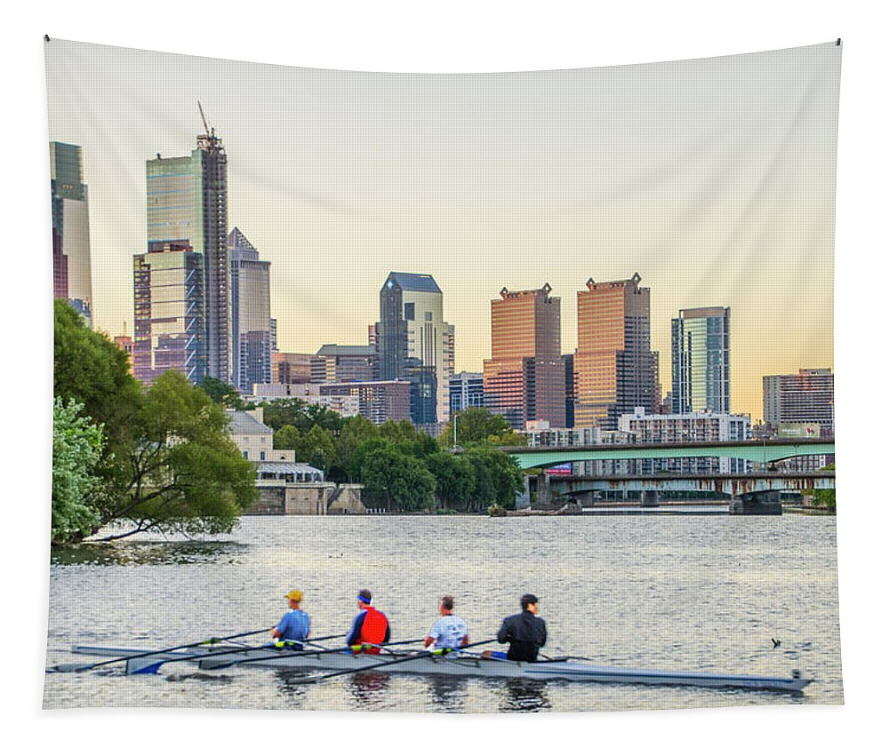 Rowing Tapestry featuring the photograph Rowing The Schuylkill - Philadelphia Cityscape by Bill Cannon