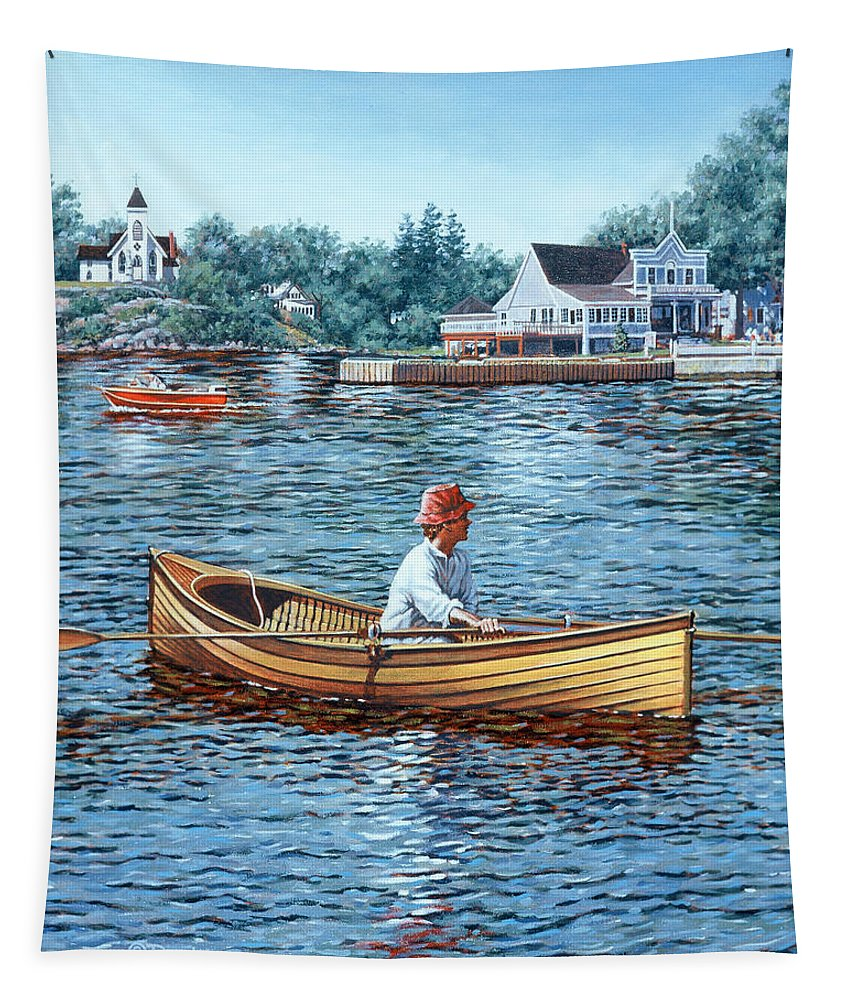 Rockport Tapestry featuring the painting Rowing To Rockport by Richard De Wolfe