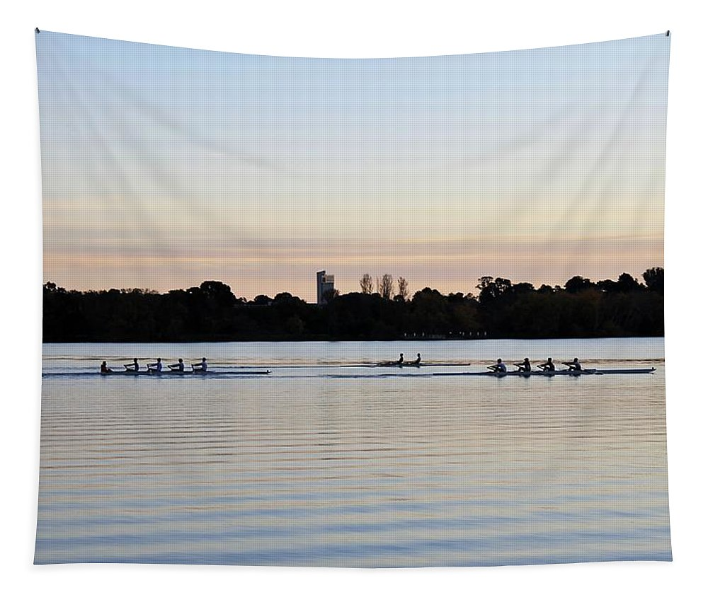 Morning Tapestry featuring the photograph Rowing Under A Pastel Sky by Anthony Croke