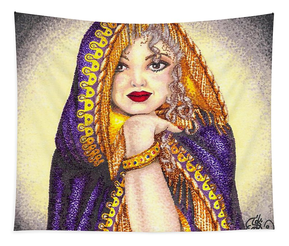 Woman Tapestry featuring the drawing Royal Thoughts by Scarlett Royal