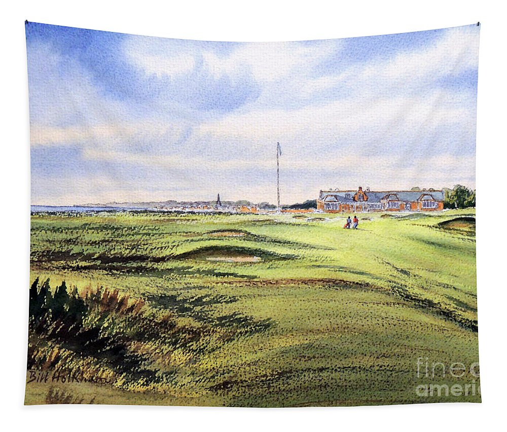 Golf Tapestry featuring the painting Royal Troon Golf Course by Bill Holkham
