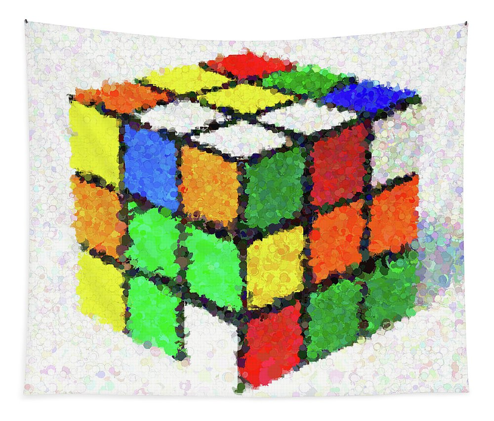 Rubik's Cube Tapestry featuring the painting Rubiks by Dan Sproul