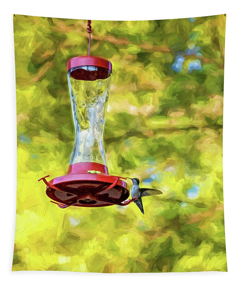 Steve Harrington Tapestry featuring the photograph Ruby-throated Hummingbird 2 - Impasto by Steve Harrington