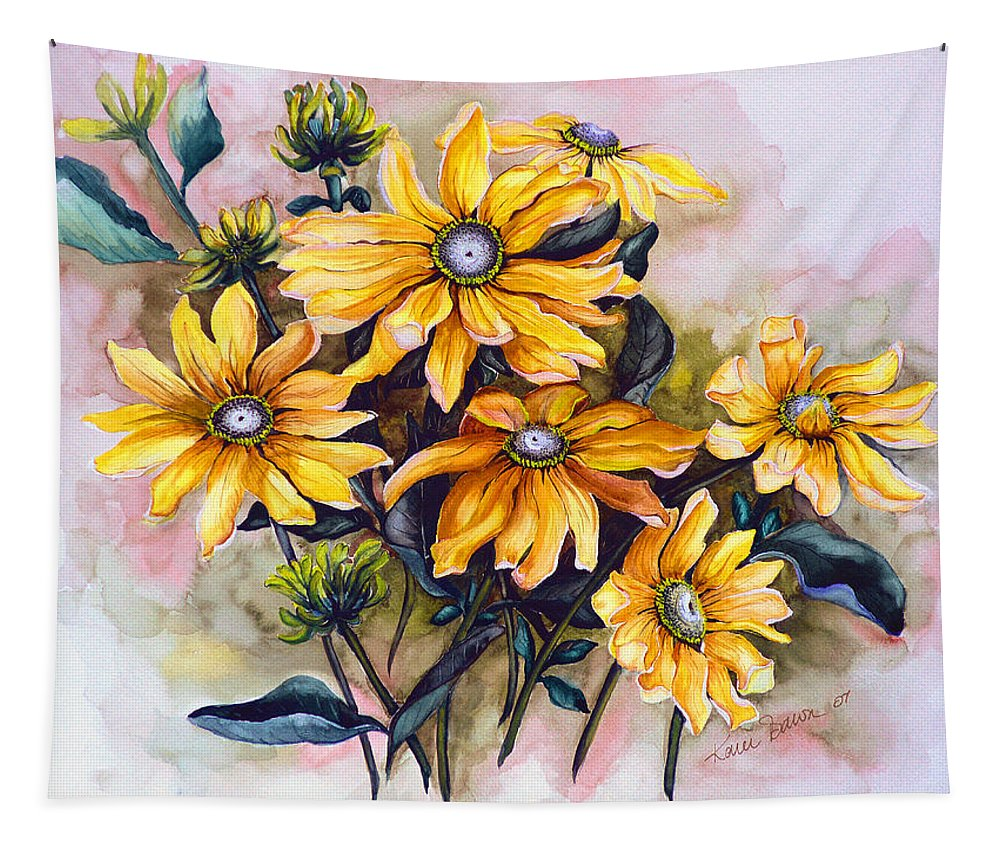 Flower Painting Sun Flower Painting Flower Botanical Painting  Original Watercolor Painting Rudebeckia Painting Floral Painting Yellow Painting Greeting Card Painting Tapestry featuring the painting RUDBECKIA Prairie Sun by Karin Dawn Kelshall- Best