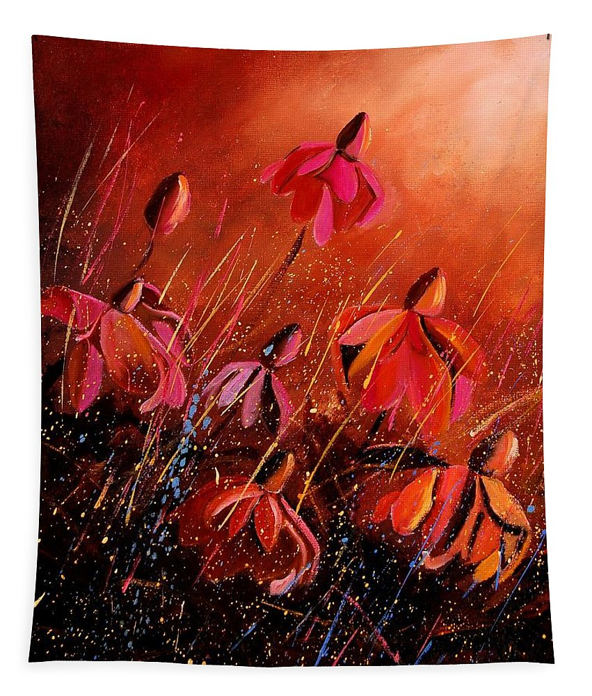 Poppies Tapestry featuring the painting Rudbeckia's 45 by Pol Ledent
