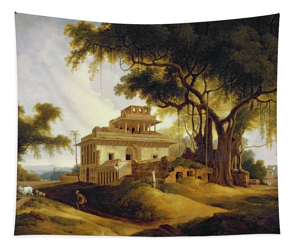 Ruins Tapestry featuring the painting Ruins Of The Naurattan by Thomas Daniell