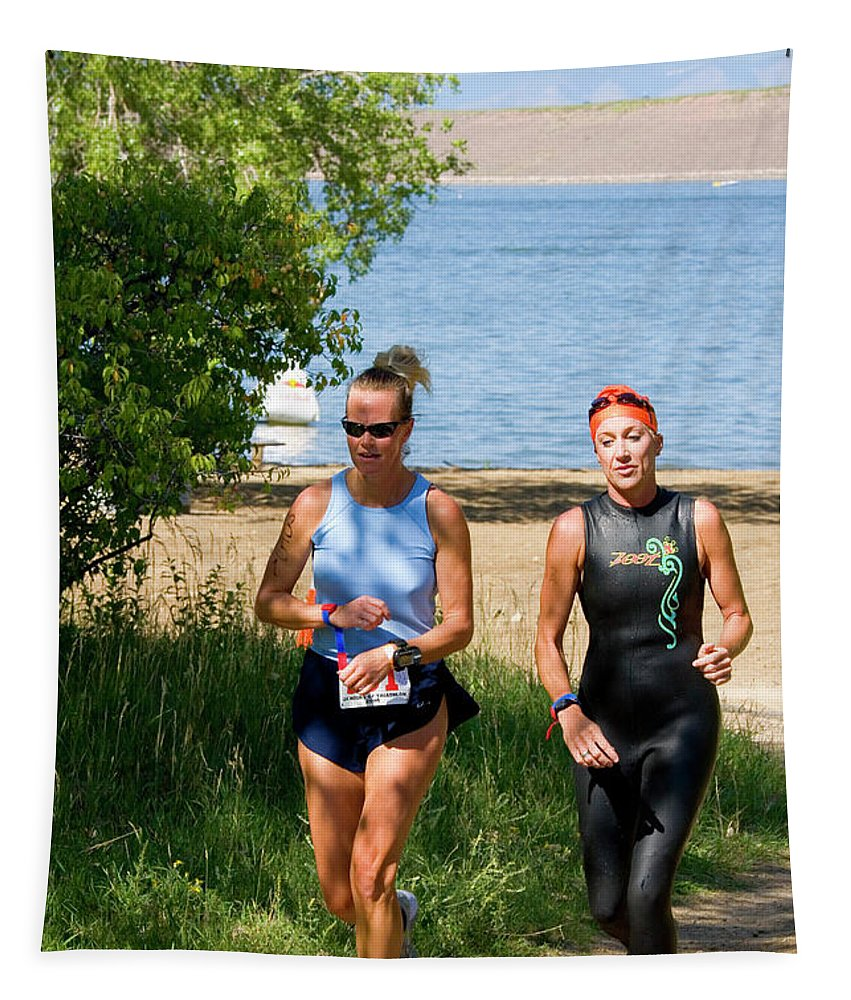 Female Tapestry featuring the photograph Runners At The 24 Hours Of Triathlon by Steve Krull