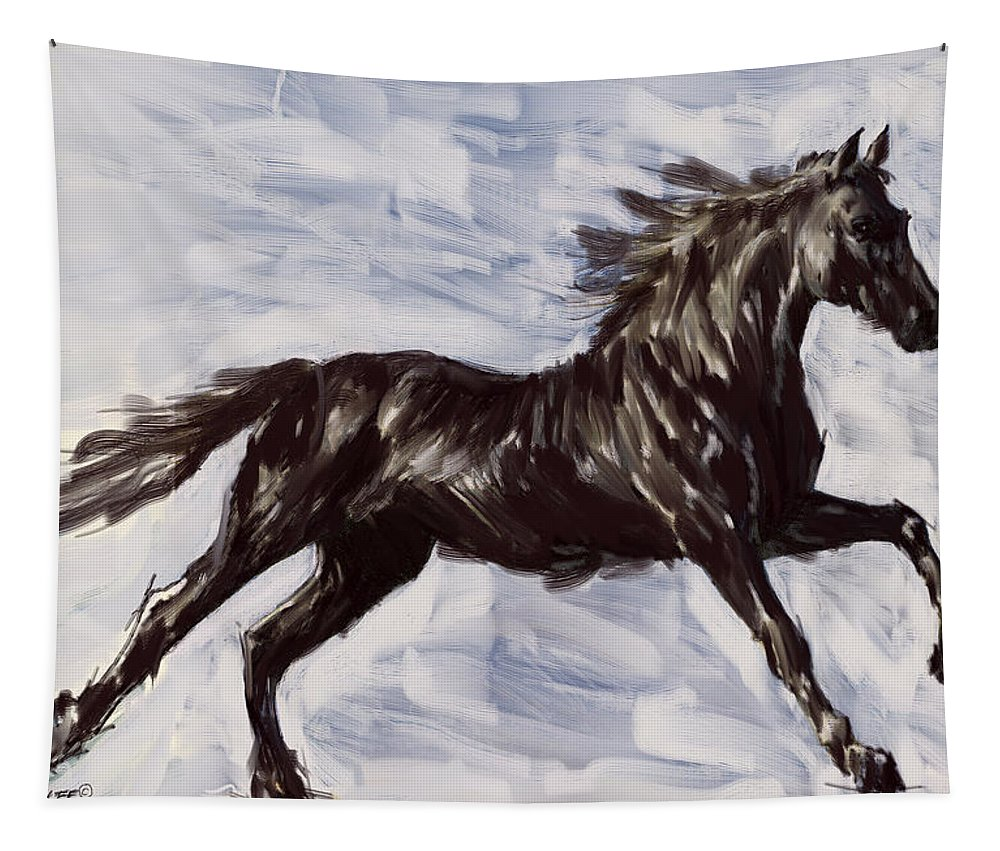 Horse Tapestry featuring the digital art Running Horse by Richard De Wolfe