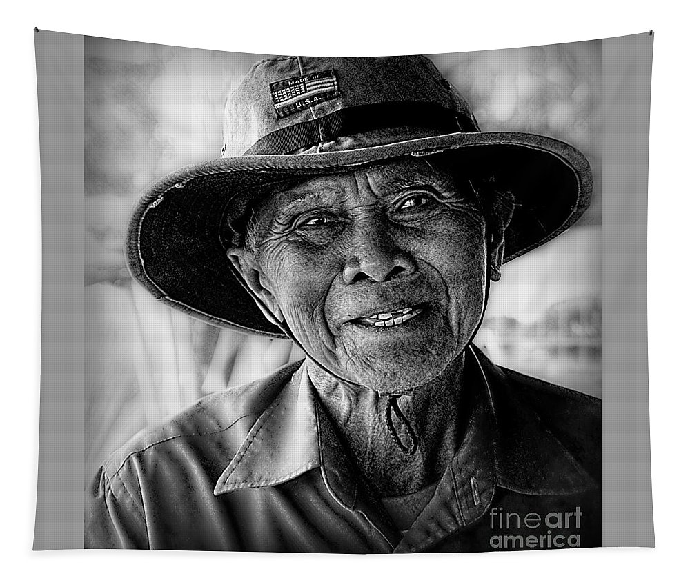 Thailand Tapestry featuring the digital art Rural Rice Farmer by Ian Gledhill