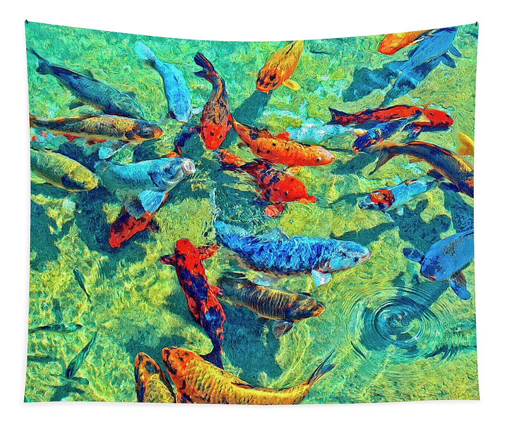 Koi Tapestry featuring the painting Rush Hour by Dominic Piperata