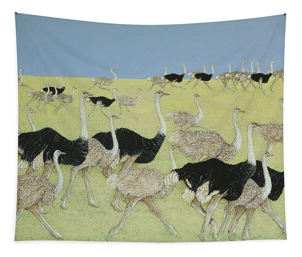 Ostrich Tapestry featuring the painting Rush Hour by Pat Scott
