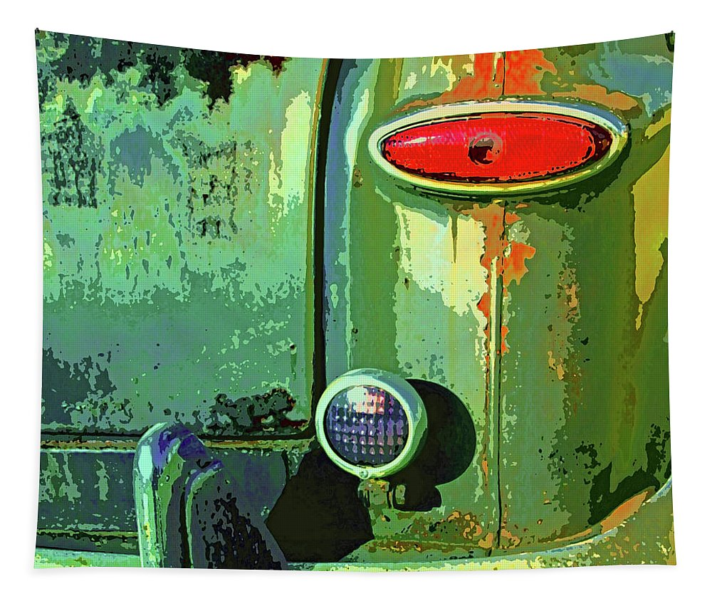 Rusted Car Tapestry featuring the mixed media Rust Never Sleeps by Dominic Piperata