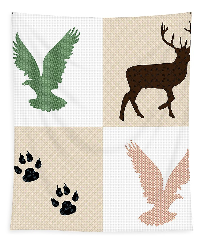 Rustic Wildlife Tapestry featuring the mixed media Rustic Wildlife Pattern by Christina Rollo