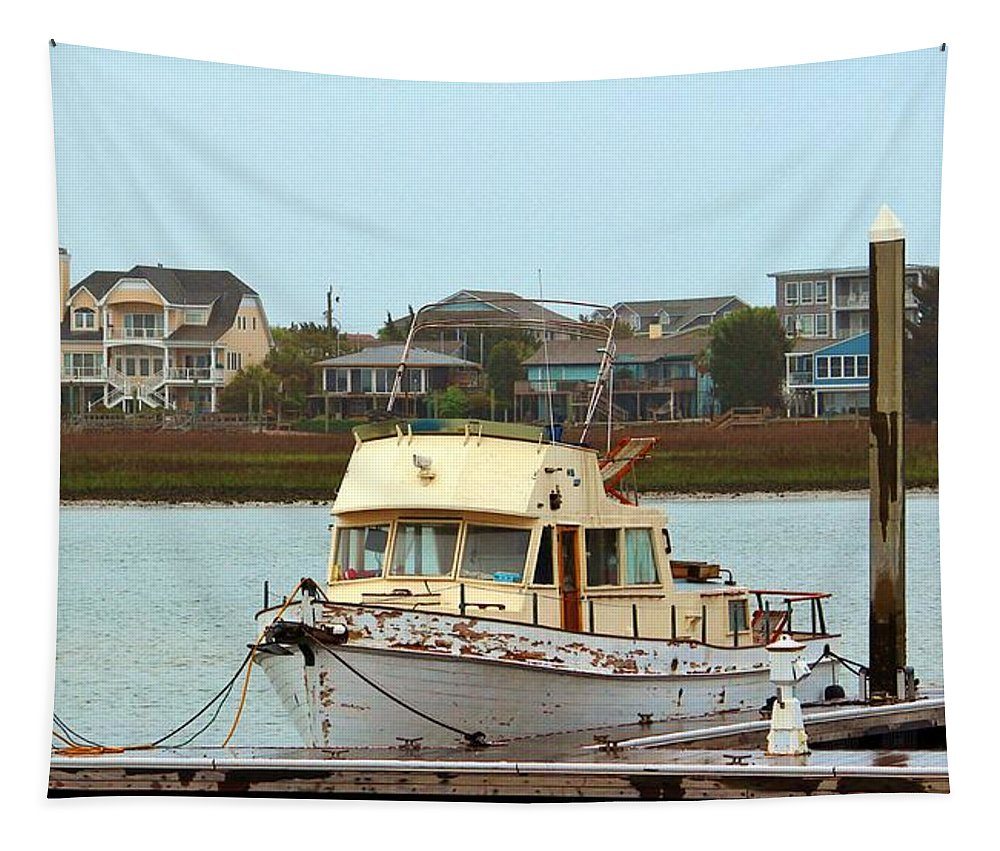 Rust Tapestry featuring the photograph Rusty Old Boat by Cynthia Guinn
