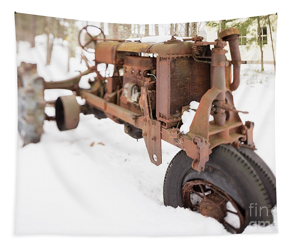 Tilt Tapestry featuring the photograph Rusty Old Steel Wheel Tractor In The Snow Tilt Shift by Edward Fielding