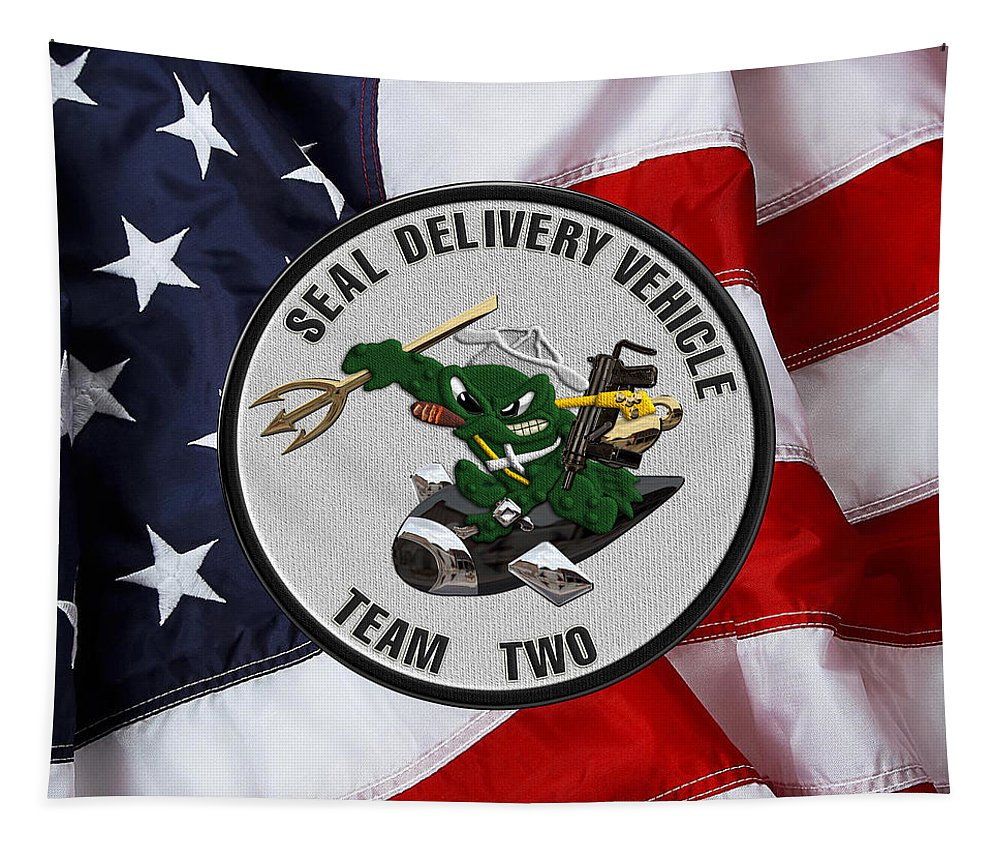 S E A L Delivery Vehicle Team Two - S D V T 2 Patch Over U  S  Flag Tapestry