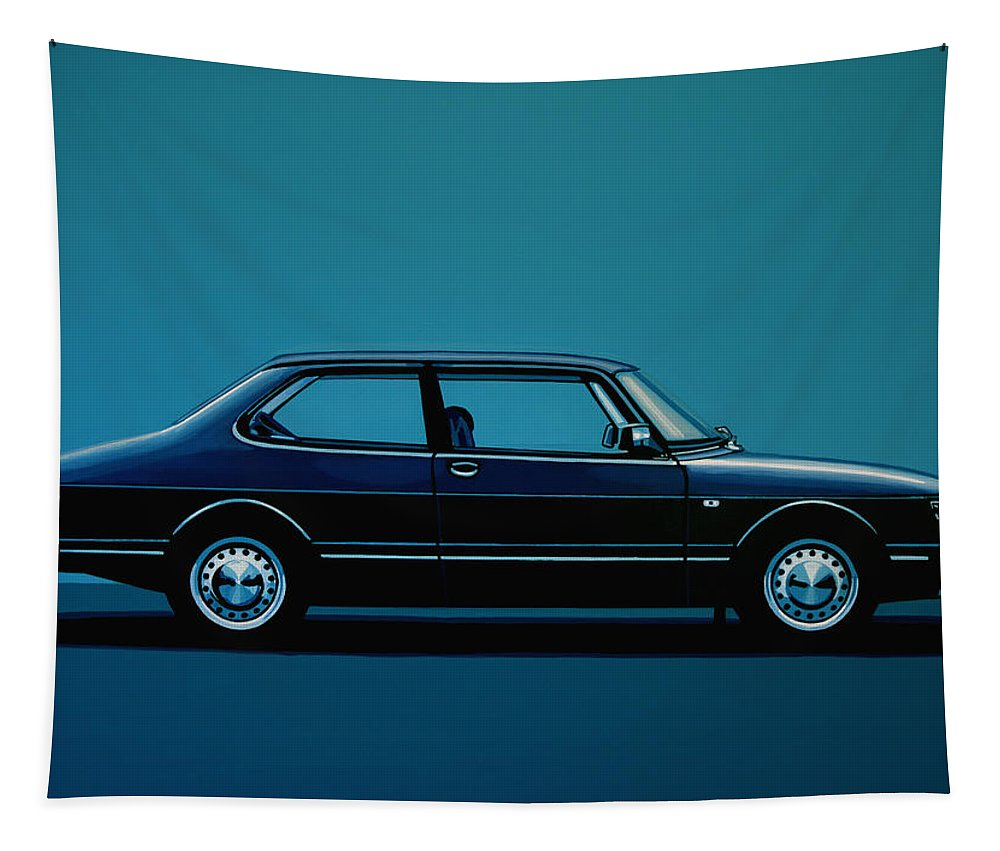 Saab Tapestry featuring the painting Saab 90 1985 Painting by Paul Meijering