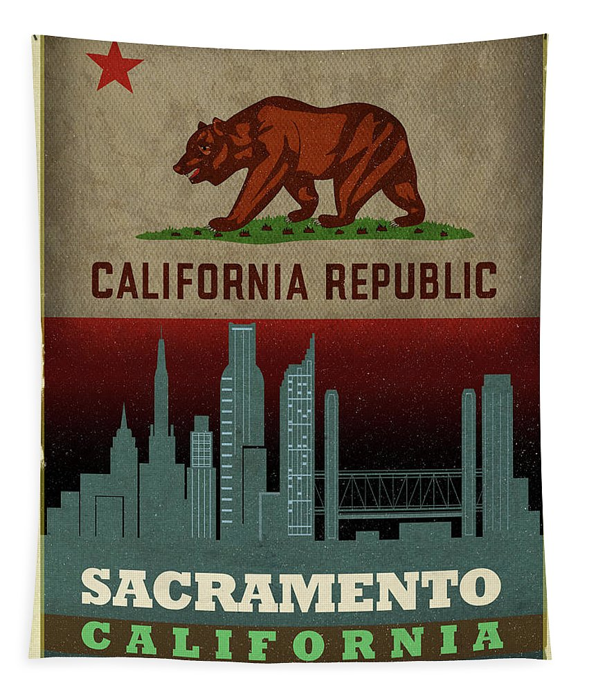 Sacramento Tapestry featuring the mixed media Sacramento City Skyline State Flag Of California Art Poster Series 023 by Design Turnpike