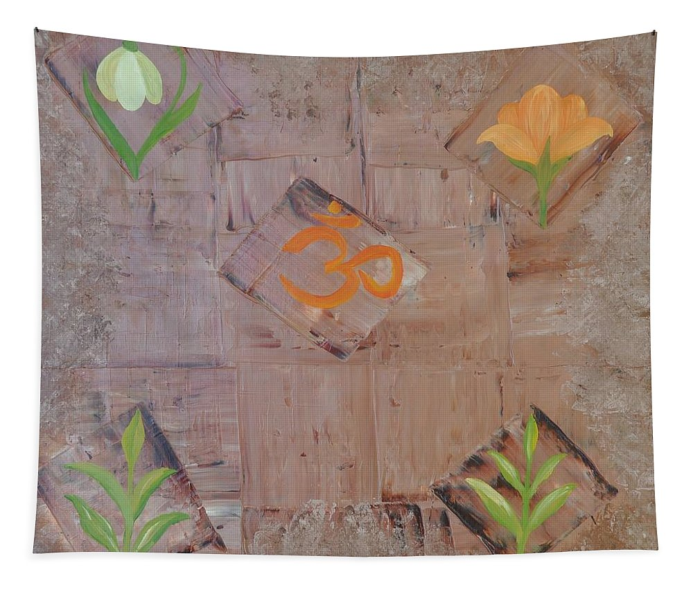 Symbolism Tapestry featuring the painting Sacred Aum by Georgeta Blanaru