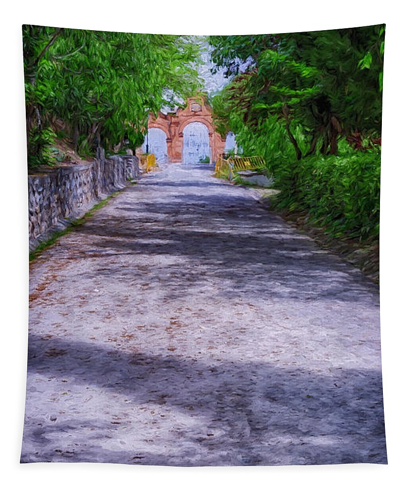 Joan Carroll Tapestry featuring the photograph Sacromonte Abbey Entrance by Joan Carroll