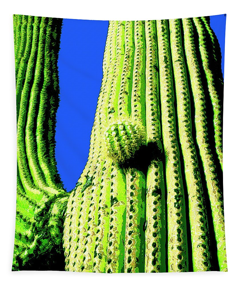 Saguaro Tapestry featuring the mixed media Saguaro by Dominic Piperata