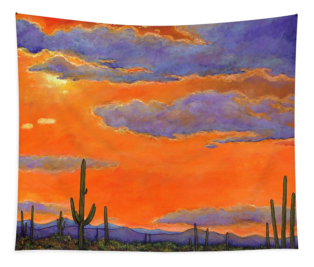 Southwest Art Tapestry featuring the painting Saguaro Sunset by Johnathan Harris