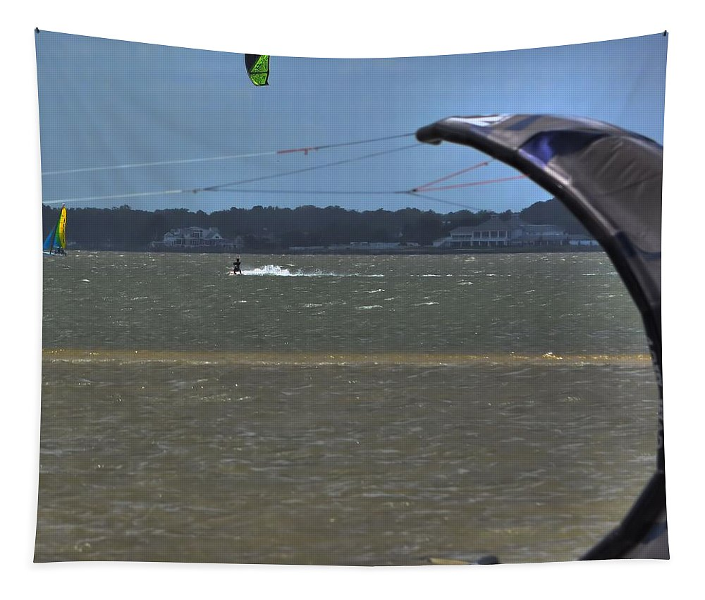 Kiteboarding Tapestry featuring the photograph Sail Fam Reunion by Robert McCubbin