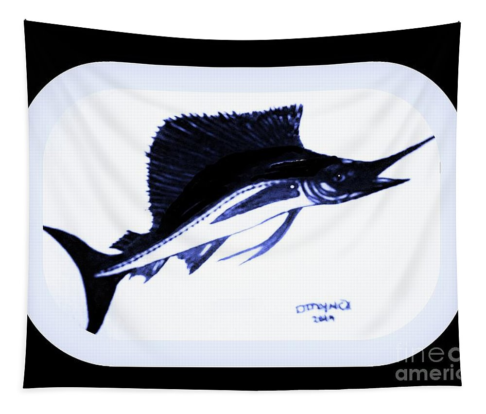 Sail Tapestry featuring the painting Sail Fish In Black And White Watercolor by Debra Lynch